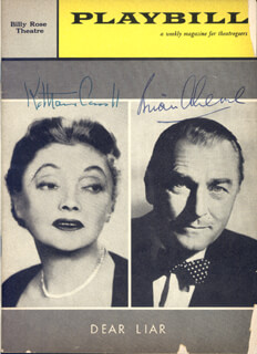 DEAR LIAR BROADWAY CAST - SHOW BILL SIGNED CIRCA 1960 CO-SIGNED BY: BRIAN AHERNE, KATHARINE CORNELL