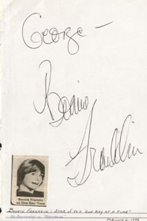 BONNIE FRANKLIN - INSCRIBED SIGNATURE