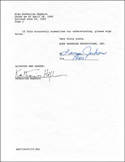 Autographs: KATHARINE HEPBURN - DOCUMENT SIGNED 06/26/1992
