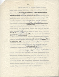 DANNY KAYE - DOCUMENT SIGNED 09/17/1956