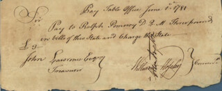 CONNECTICUT REVOLUTIONARY WAR - MANUSCRIPT DOCUMENT SIGNED 06/01/1781 CO-SIGNED BY: WILLIAM MOSELEY, GENERAL JEDIDIAH HUNTINGTON
