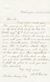 Autographs: MAJOR GENERAL NATHANIEL P. BANKS - MANUSCRIPT LETTER SIGNED 03/26/1870