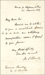 MAJOR GENERAL NATHANIEL P. BANKS - AUTOGRAPH LETTER SIGNED 03/22/1867