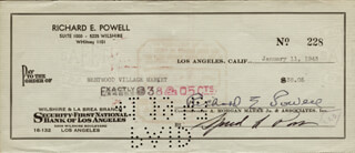 DICK POWELL - AUTOGRAPHED SIGNED CHECK 01/11/1943