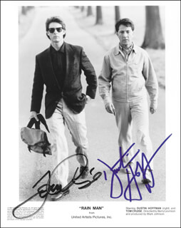 RAIN MAN MOVIE CAST - PRINTED PHOTOGRAPH SIGNED IN INK CO-SIGNED BY: TOM CRUISE, DUSTIN HOFFMAN