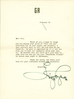 GINGER ROGERS - TYPED LETTER SIGNED 02/24/1949