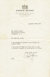 PAUL MUNI - TYPED LETTER SIGNED 12/29/1932