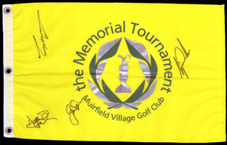Autographs: TIGER WOODS - FLAG SIGNED CO-SIGNED BY: GREG THE SHARK NORMAN, JACK NICKLAUS, DAVID DUVAL