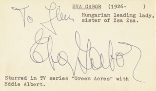 EVA GABOR - INSCRIBED SIGNATURE