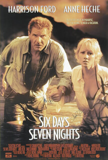 Autographs: SIX DAYS, SEVEN NIGHTS MOVIE CAST - POSTER SIGNED CO-SIGNED BY: HARRISON FORD, ANNE HECHE