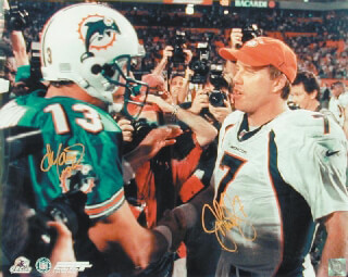 JOHN ELWAY - AUTOGRAPHED SIGNED PHOTOGRAPH CO-SIGNED BY: DAN MARINO