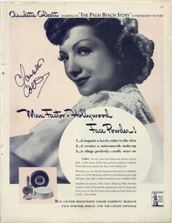 CLAUDETTE COLBERT - ADVERTISEMENT SIGNED