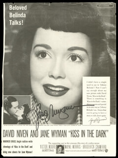JANE WYMAN - ADVERTISEMENT SIGNED