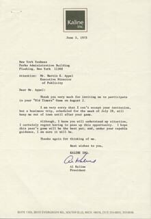 AL MR. TIGER KALINE - TYPED LETTER SIGNED 06/03/1975
