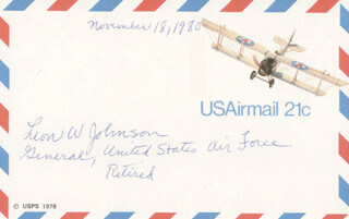 Autographs: GENERAL LEON W. JOHNSON - POST CARD SIGNED 11/18/1980