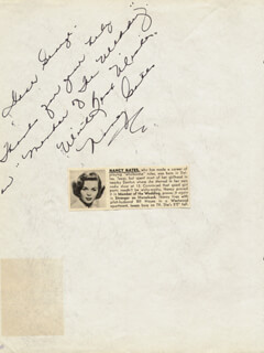 NANCY GATES - AUTOGRAPH NOTE SIGNED 11/12/1952 CO-SIGNED BY: CHARLIE WALKIN' CHARLIE ALDRICH