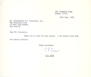 CHARLES P. SNOW - TYPED NOTE SIGNED 07/17/1963
