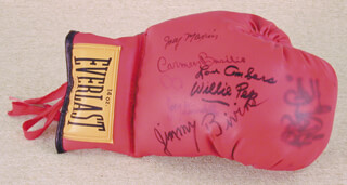 JOEY MAXIM - BOXING GLOVE SIGNED CO-SIGNED BY: LOU AMBERS, CARMEN BASILIO, RAY BOOM BOOM MANCINI, WILLIE WILL O' THE WISP PEP, JOEY GIARDELLO, JIMMY BIVINS