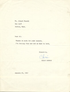 CHRISTOPHER GEORGE - TYPED NOTE SIGNED 01/25/1967