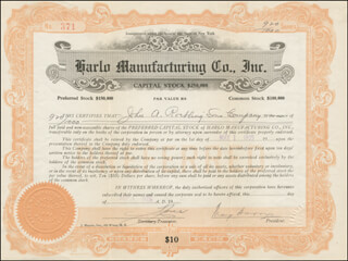 Autographs: WASHINGTON A. ROEBLING - STOCK CERTIFICATE ENDORSED 05/11/1923