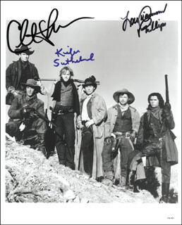 YOUNG GUNS MOVIE CAST - AUTOGRAPHED SIGNED PHOTOGRAPH CO-SIGNED BY: CHARLIE SHEEN, KIEFER SUTHERLAND, LOU DIAMOND PHILLIPS