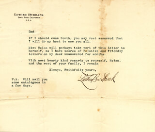 LUTHER BURBANK - TYPED LETTER SIGNED 12/01/1916