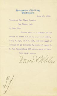 Autographs: LT. GENERAL NELSON A. MILES - TYPED LETTER SIGNED 06/10/1899