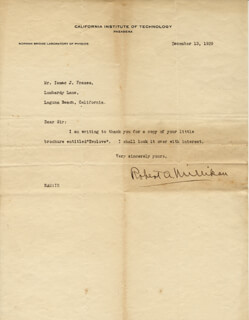 ROBERT A. MILLIKAN - TYPED LETTER SIGNED 12/13/1929