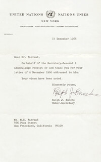 Autographs: RALPH J. BUNCHE - TYPED LETTER SIGNED 12/14/1966