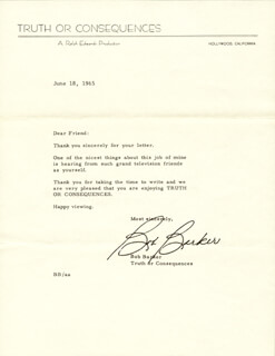 BOB BARKER - TYPED LETTER SIGNED 06/18/1965
