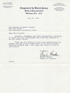 Autographs: PHILLIP BURTON - TYPED LETTER SIGNED 07/31/1967