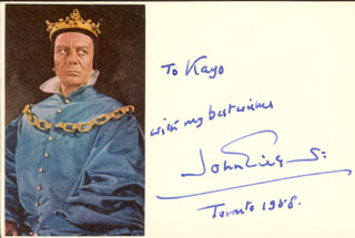 SIR JOHN GIELGUD - AUTOGRAPH NOTE SIGNED 1958