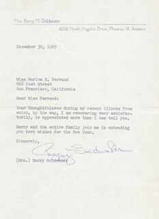 PEGGY (MRS. BARRY) GOLDWATER - TYPED LETTER SIGNED 12/30/1965