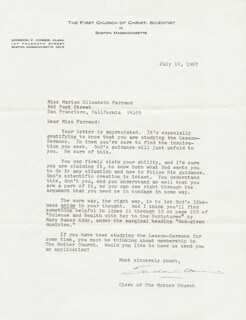 GORDON V. COMER - TYPED LETTER SIGNED 07/10/1967