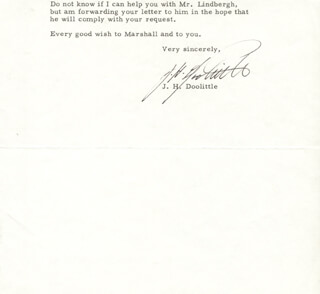 BRIGADIER GENERAL JAMES H. JIMMY DOOLITTLE - TYPED LETTER SIGNED