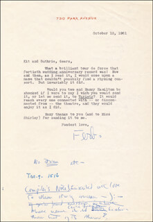 EDNA FERBER - TYPED LETTER SIGNED 10/13/1961