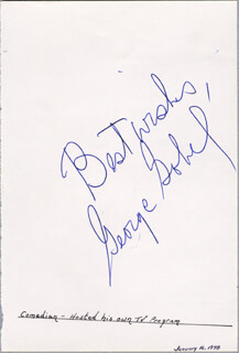 GEORGE GOBEL - AUTOGRAPH SENTIMENT SIGNED CIRCA 1978