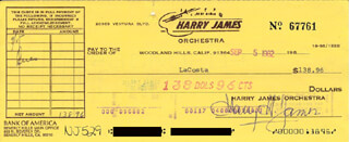 HARRY JAMES - AUTOGRAPHED SIGNED CHECK 09/05/1982