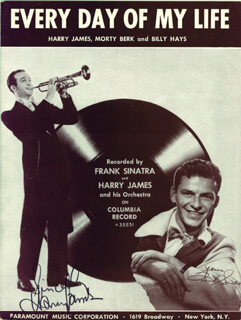 HARRY JAMES - SHEET MUSIC SIGNED