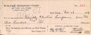 SIGMUND ROMBERG - AUTOGRAPHED SIGNED CHECK 11/29/1919