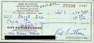 RED BUTTONS - AUTOGRAPHED SIGNED CHECK 01/07/1974  - HFSID 253136