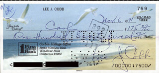 LEE J. COBB - AUTOGRAPHED SIGNED CHECK 11/06/1971