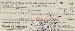 Autographs: CECIL B. DEMILLE - CHECK SIGNED 05/01/1947