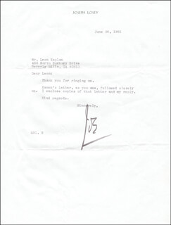 JOSEPH LOSEY - TYPED LETTER SIGNED 06/26/1981