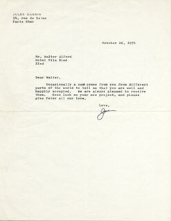 JULES DASSIN - TYPED LETTER SIGNED 10/26/1971