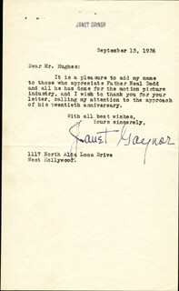 JANET GAYNOR - TYPED LETTER SIGNED 09/13/1936