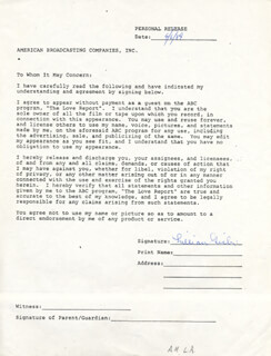 LILLIAN GISH - DOCUMENT SIGNED 04/06/1984