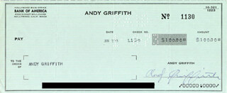 ANDY GRIFFITH - CHECK SIGNED & ENDORSED 01/02/1973