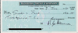 REX HARRISON - AUTOGRAPHED SIGNED CHECK 06/07/1960