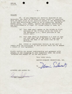 BEN JOHNSON - DOCUMENT SIGNED 10/29/1971 CO-SIGNED BY: MARVIN SCHWARTZ